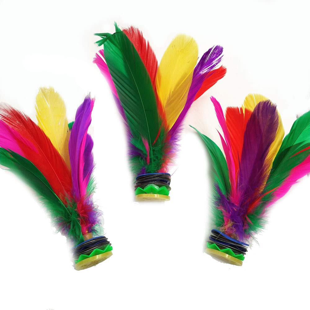Shuttlecocks Ukick Feather Football Kicking Featherball for Competition Ourdoor Shuttlecocks Games Colorful Chinese Jianzi Kids Toy Badminton Shuttlecocks Feathers 3 PCS