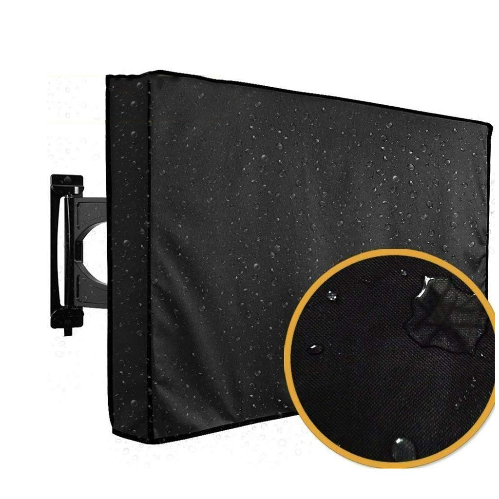 ZAQ Outdoor TV Cover 22''-65'' inch - Universal Weatherproof Protector for Flat Screen TVs - Fits Most TV Mounts and Stands - Black (Size : 118x74x13cm(46-48 inch))