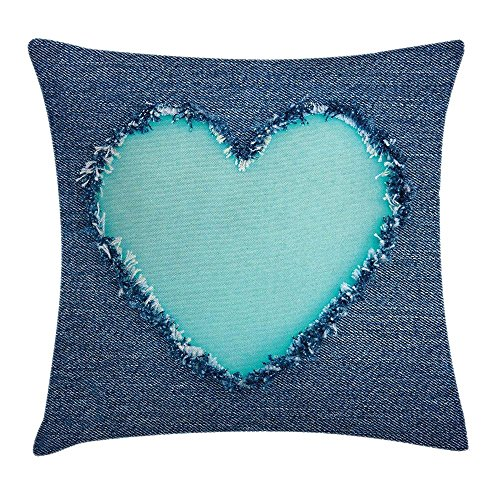 Navy and Teal Throw Pillow Cushion Cover, Ripped Denim Jean Fabric Image Heart Shape Love Romance Valentines Day, Decorative Square Accent Pillow Case, 18 X 18 Inches, Navy Blue Seafoam