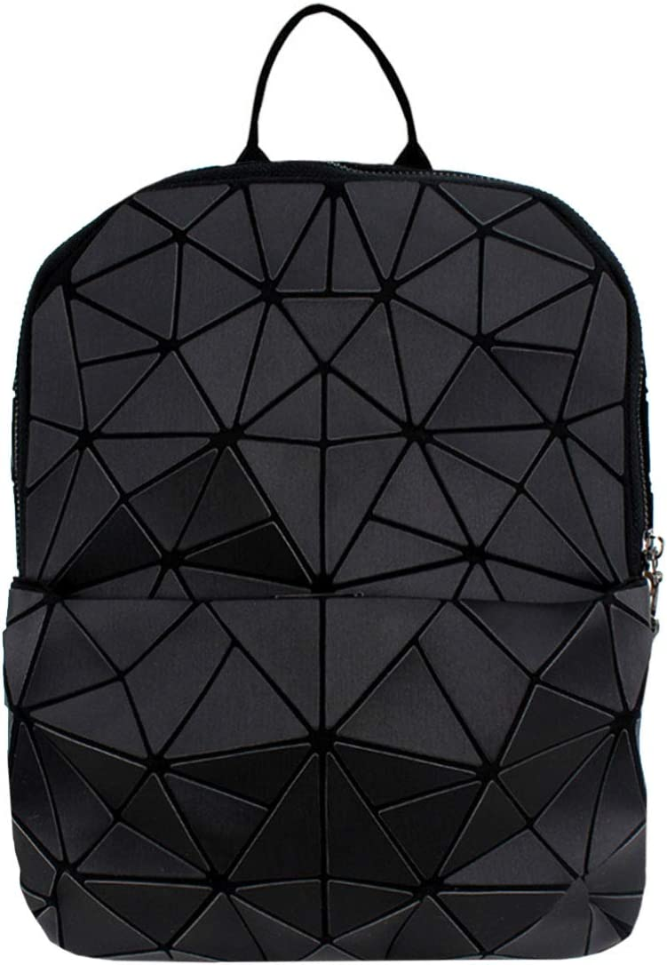 Van Caro Leather Luminous Backpack Geometric Reflective Travel Rucksack for Women Girls (Black)
