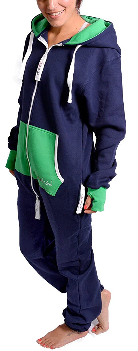 Charlie McLeod The Classic Unisex Contrast Onesie in Inky Blue and Green. The Perfect Adult Onepiece Jumpsuit with Free Matching Bag from