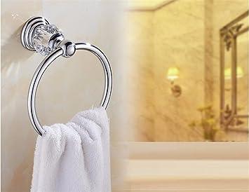 Hlluya Toallero El Creativo Gold Crystal Toalla de baño Antiguo Anillo montado en la Pared toallero Anillo Toalla de baño Accesorios, Plata: Amazon.es: ...