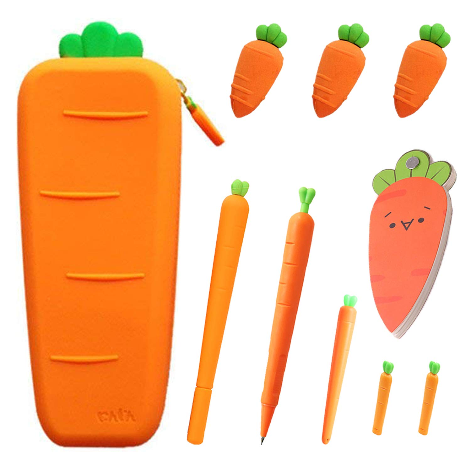 Cute Carrot Pencil Case Set - Pack of 10pcs,Large Capacity Soft Silicone Carrot Pen Pouch,Gel Ink Pen,Mechanical Pencil,Eraser,Lead Refills for Cute School Supplies/Stationery Kids Students Waterproof by XYVIMILDY