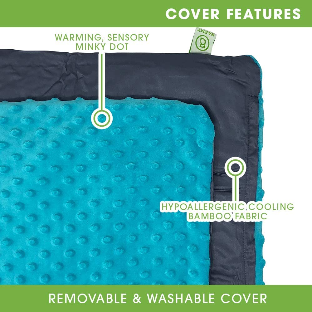 Aqua Blue Minky//Bamboo Cover BARMY Weighted Lap Pad for Comfort and Relaxation Ideal Gift Weighted Lap Blanket with Removable Dual-Sided Travel Size 24x24 inches, 5 lbs