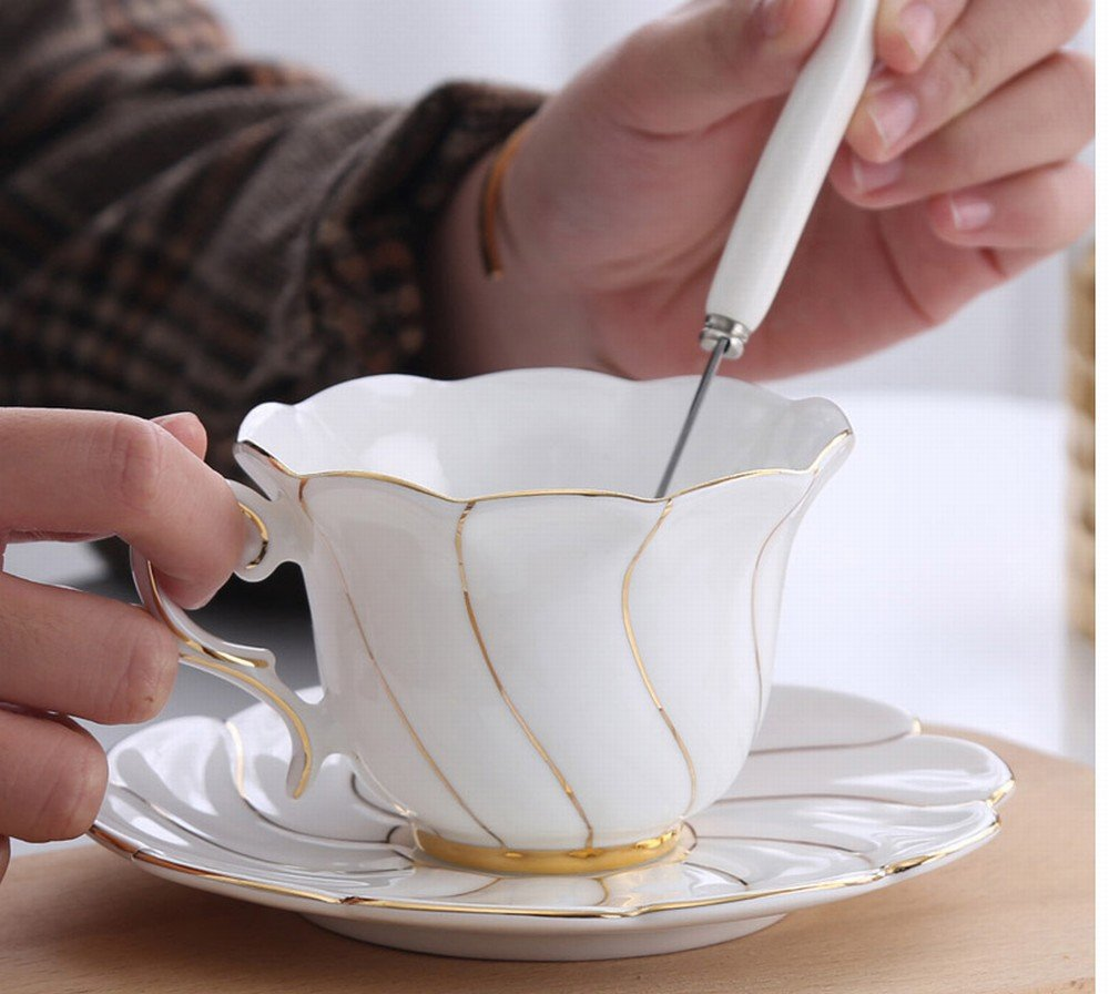 DHG European Afternoon Tea Ceramic Household Coffee Cup with Saucer Spoon Cup Holder Gift Set Simple Bone China Mark Water Cup,D,13.56.510.5CM