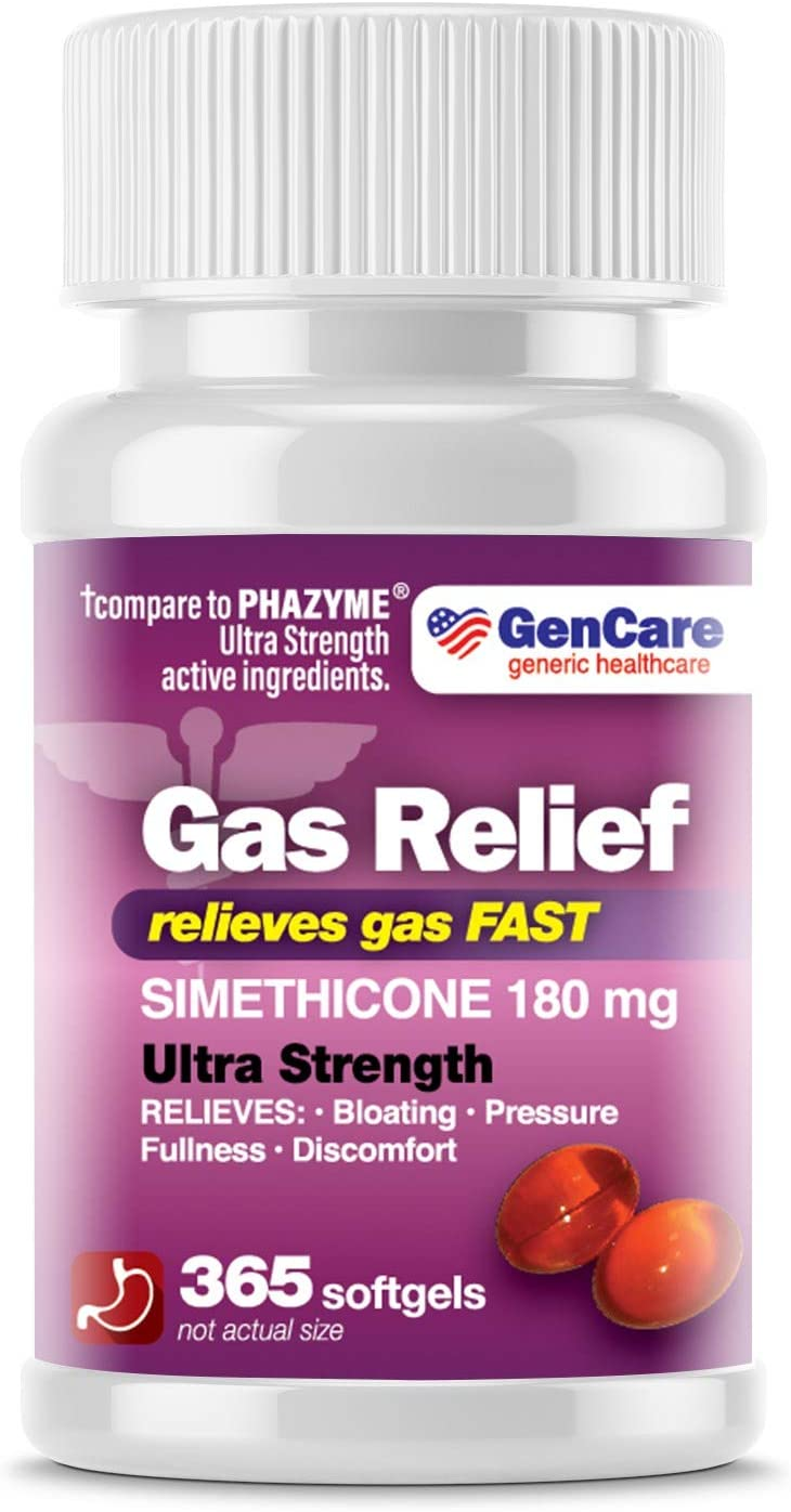 GenCare - Ultra Strength Simethicone Gas Relief 180 mg (365 Softgels) | Anti Flatulence, Bloating Aid, Stomach Discomfort and Gas Pressure Reliever Pills | Relieves Gas Fast | Generic Phazyme: Health & Personal Care