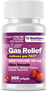 GenCare - Ultra Strength Simethicone Gas Relief 180 mg (365 Softgels) | Anti Flatulence, Bloating Aid, Stomach Discomfort and Gas Pressure Reliever Pills | Relieves Gas Fast | Generic Phazyme