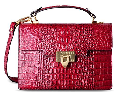 Handle Top Body Cross Dark Handbag Bags PIFUREN Satchel Red Women Leather WwqFYggp