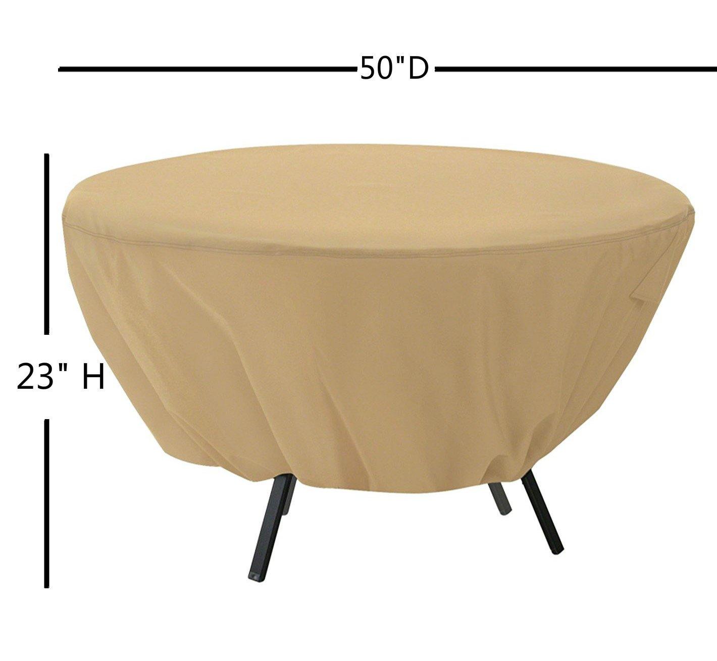 15m Mitefu Housse de Protection pour Table Ronde Patio Couverture Imperm/éable pour Meuble de Jardin