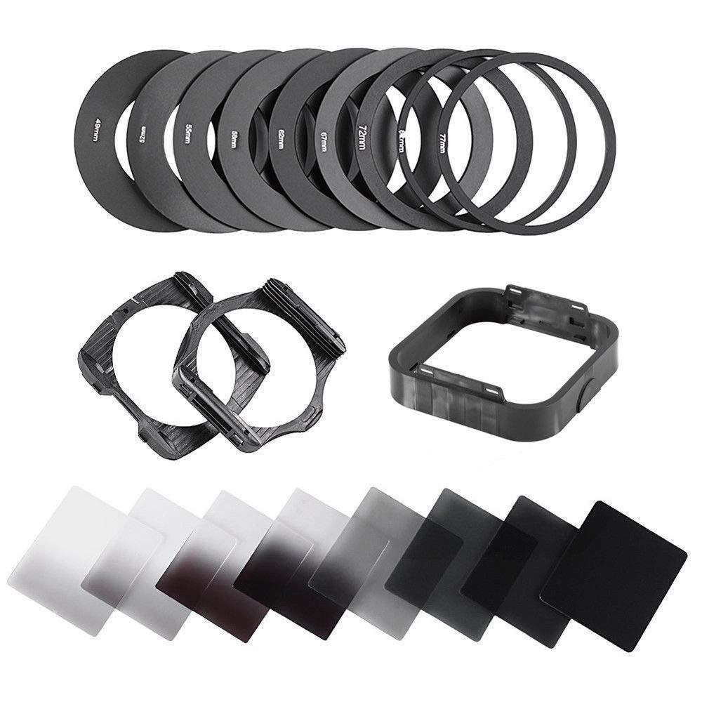 Ring Adapter Lens Hood Black Square Filter Holder 8Pcs//Set Square Filter kit Complete Set for ND2 ND4 ND8 ND16 for Cokin
