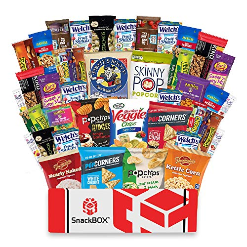 Healthy Snacks Care Package Snack Box (40 Count) for College Students, Exams, Finals, Father's Day, Gift Basket, Gift Ideas, Get well, Military, Deployment, with Chips, Cookies, Granola Bars and Nuts (Good Things To Send In A Care Package)