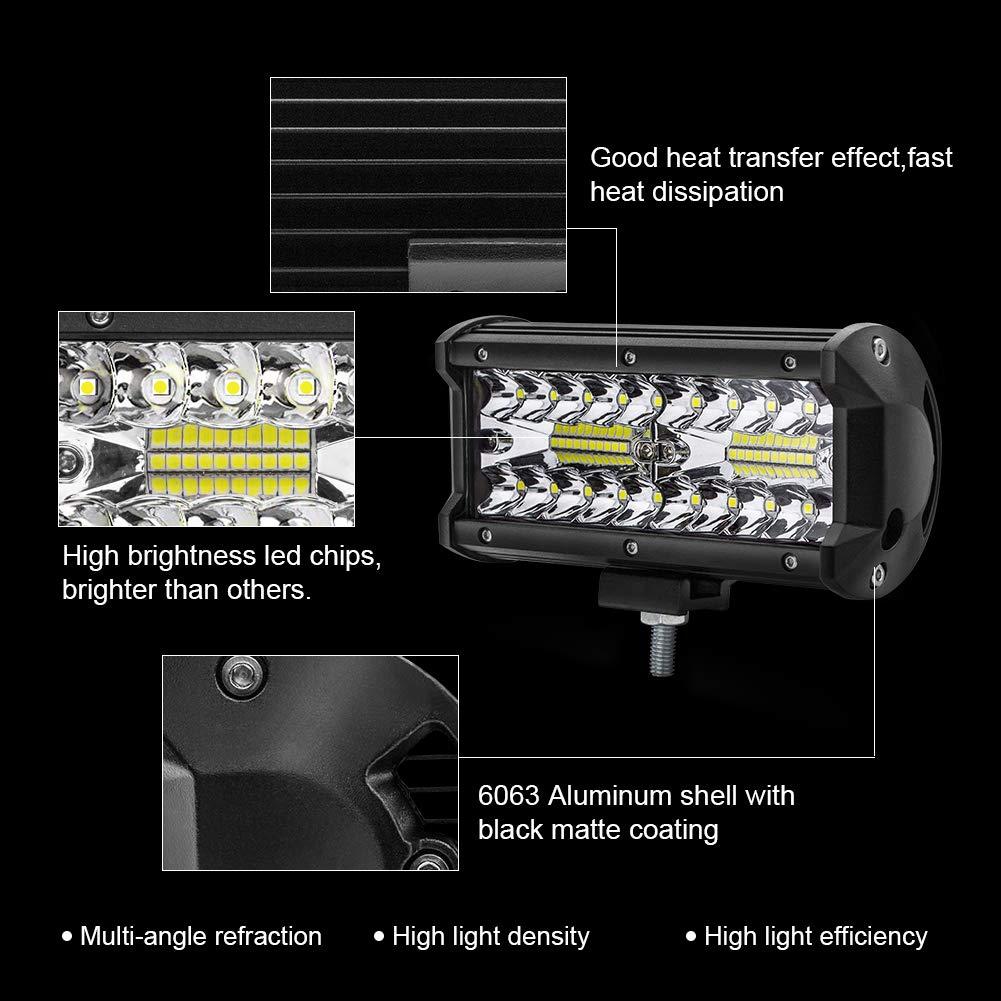 Lot de 4 Safego 7 120W LED Barre Projecteur Phare de LED Lampe de travail Spotlight 9600LM Feux Antibrouillard Diurne Lumi/ère pour Off Road Tracteur V/éhicule Bateaux Camion Remorque 12V 24V