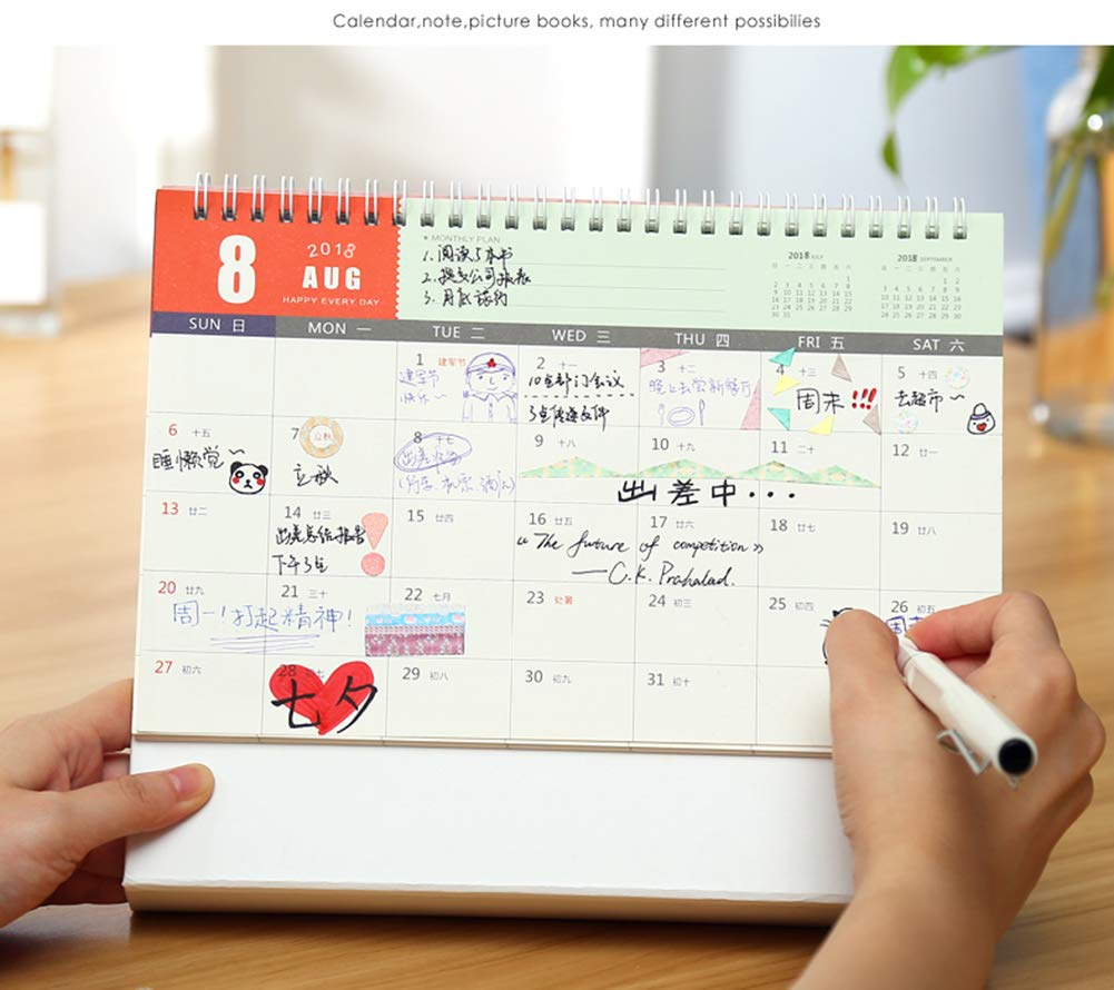 Whthteey 2018-2019 Stand Monthly Desk Calendar Twin-Wire Binding Runs from August 2018 Through December 2019 Monthly Planners for Office School Family (Flower) by Whthteey (Image #3)