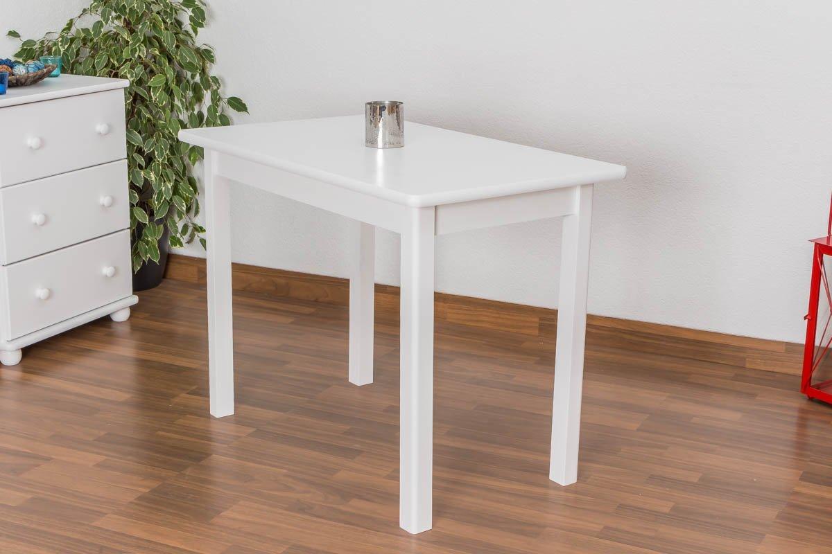 Tisch Kiefer massiv Vollholz Vollholz Vollholz weiß lackiert Junco 227B (eckig) - Abmessung 60 x 100 cm 042b3a