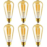 Helloify Light Dimmable Edison, Vintage Antique Style ST19(ST64) LED Filament Bulbs, 60W Incandescent Equivalent, 2500K(Amber
