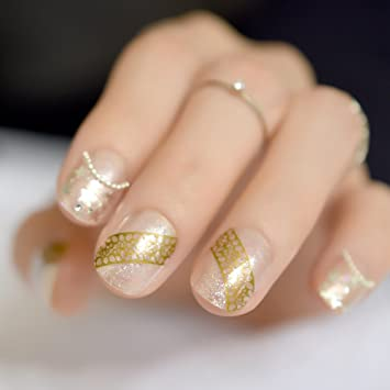 ce7cbec172a CoolNail Small Round Top Clear French False Nails Tip Star Shimmer Colorful  Glitter Gold Print Short Salon...