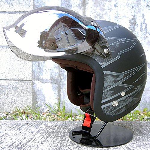 HANDLE KING 72JAM ジェットヘルメット&シールドセット [STING - マットブラック (フリーサイズ:57-60cm)+開閉式バブルシールド (ソリッドクリア)] JJ-18M ジャムテック 72ジャム B00VE385J0 マットブラック×ソリッドクリア マットブラック×ソリッドクリア