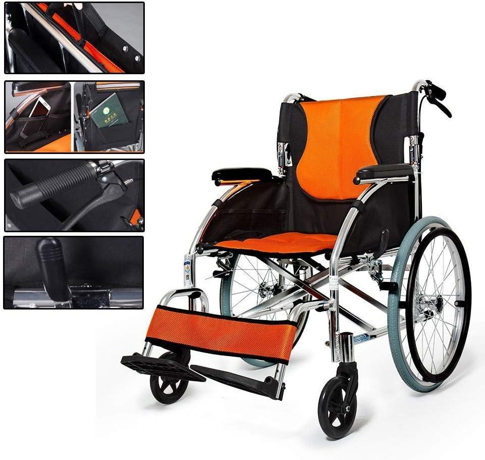 CHAIR Portátil silla de ruedas - silla plegable de transporte ligero con llantas sólidas; Reposabrazos del asiento - autopropulsada silla de ruedas para los hombres; mujeres Transporte