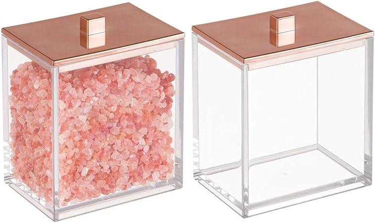 mDesign Juego de 2 envases para cosméticos – Dispensador de discos de algodón y caja para bastoncillos – Moderno bote con tapa para productos de aseo fabricados en plástico – transparente/rosa dorado: