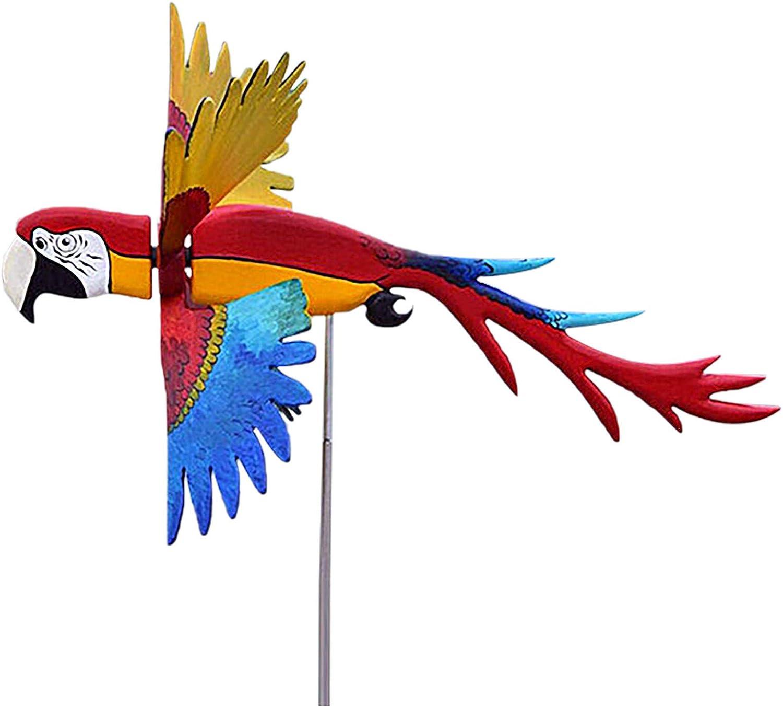 Kaadlawon Whirligig Windmill,Garden Decoration Pneumatic Top Flying Bird Series Windmill Flying Bird,Parrot Windmill Wind Spinner Bird Whirligig Macaw,Outdoor Yard Art Backyard Art Sculptures (Parrot)