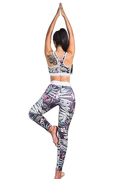 Conjunto Ropa Deportiva Mujer Bohemio Chic 2PC Conjuntos de Sujetador Crop Top y Pantalon Leggings Yoga Set Chandal Estampada Flores Verano Monos ...