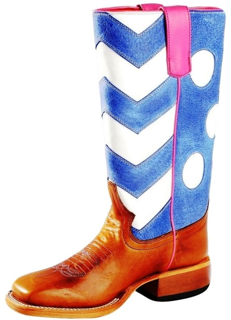 Macie Bean Western Boot Girls Chevron Polka Dots 11 Child Brown MK9068