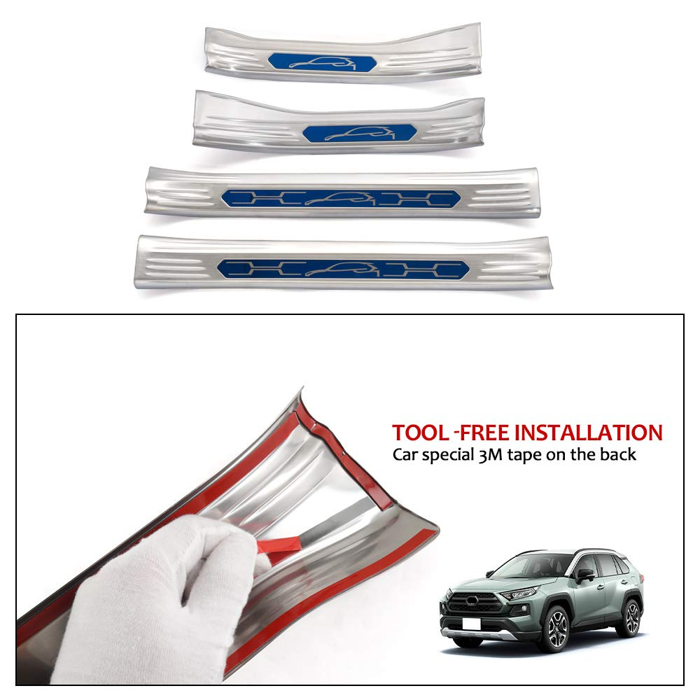 Powerty Inner Entry Protector/Stainless Steel Door Sill Scuff Guard for Toyota XA50 RAV4 Hybrid 2019-2020 Black Carbon Fiber