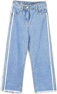 Mengonee Mujeres Altura del Tobillo Pierna Ancha de algodón Jeans Loose Button Pantalones de Cintura Alta