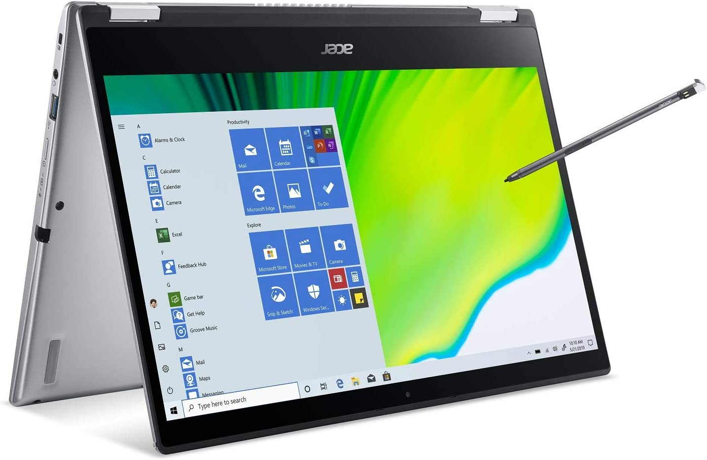 "Acer Spin 3 Convertible Laptop, 14"" Full HD IPS Touch, 10th Gen Intel Core i5-1035G4, 8GB LPDDR4, 512GB NVMe SSD, WiFi 6, Backlit KB, Fingerprint Reader, Rechargeable Active Stylus, SP314-54N-50W3"