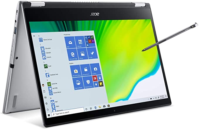 """Amazon.com: Acer Spin 3 Convertible Laptop, 14"""" Full HD IPS Touch, 10th Gen Intel Core i5-1035G4, 8GB LPDDR4, 512GB NVMe SSD, WiFi 6, Backlit KB, Fingerprint Reader, Rechargeable Active Stylus, SP314-54N-50W3: Computers & Accessories"""
