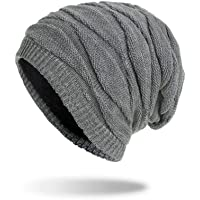 Home-Mart Winter Beanie Hat Men Warm Knit Long Slouch Skull Cap Thermal with Soft Fleece Lining