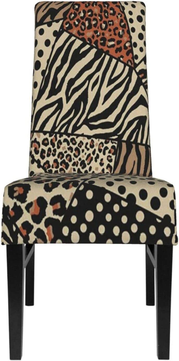 Dining Chair Cover Set Of 4 Leopard Spot Zebra Stripe And Polka Dot Vintage Dining Room Chair Slipcovers Seat Covers For Dining Room High Back Short Chairs, Banquet, Hotel, Ceremony, Wedding Party