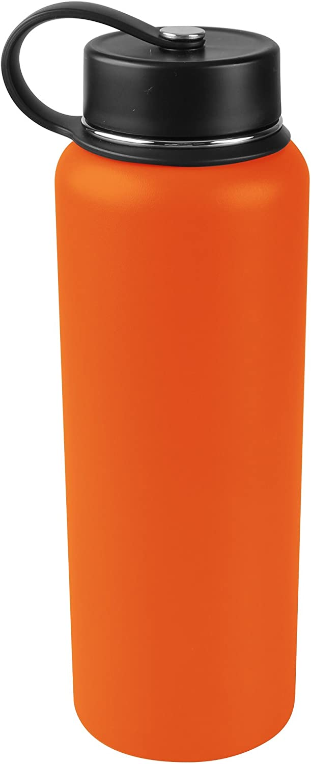 Tahoe Trails 40 oz Double Wall Vacuum Insulated Stainless Steel Water Bottle, Red Orange