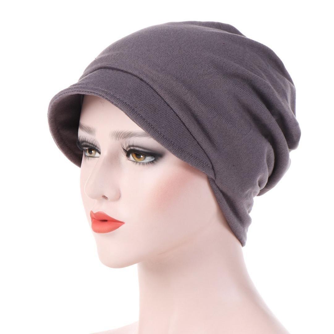 Women's Turban Chemo Hats Hexagon Head Cap Solid Color Warm Windproof Cap Gray