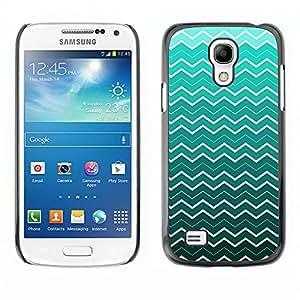 Qstar Arte & diseño plástico duro Fundas Cover Cubre Hard Case Cover para SAMSUNG Galaxy S4 mini VERSION! / i9190 / i9192 ( Waves Wallpaper Pattern Turquoise White Art)