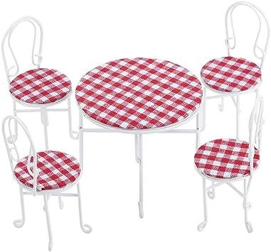 3 stücke Weiß Metall Tisch Stühle Möbel Spielzeug Set Für 1:12