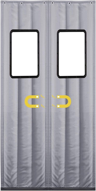 WUZMING-Cortina Térmica Magnética Para Puerta, Invierno A Prueba De Viento Anti-Nieve Imán Cierre Automático Puertas Plegables Insonorizar Cortina De Puerta De Algodón, con Ventana
