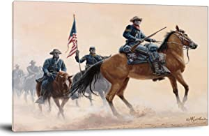 Home Decor Print Oil Painting on Canvas Wall Art Poster American Civil War Paintings Buffalo Soldiers of The West (Framed,20x24inch)