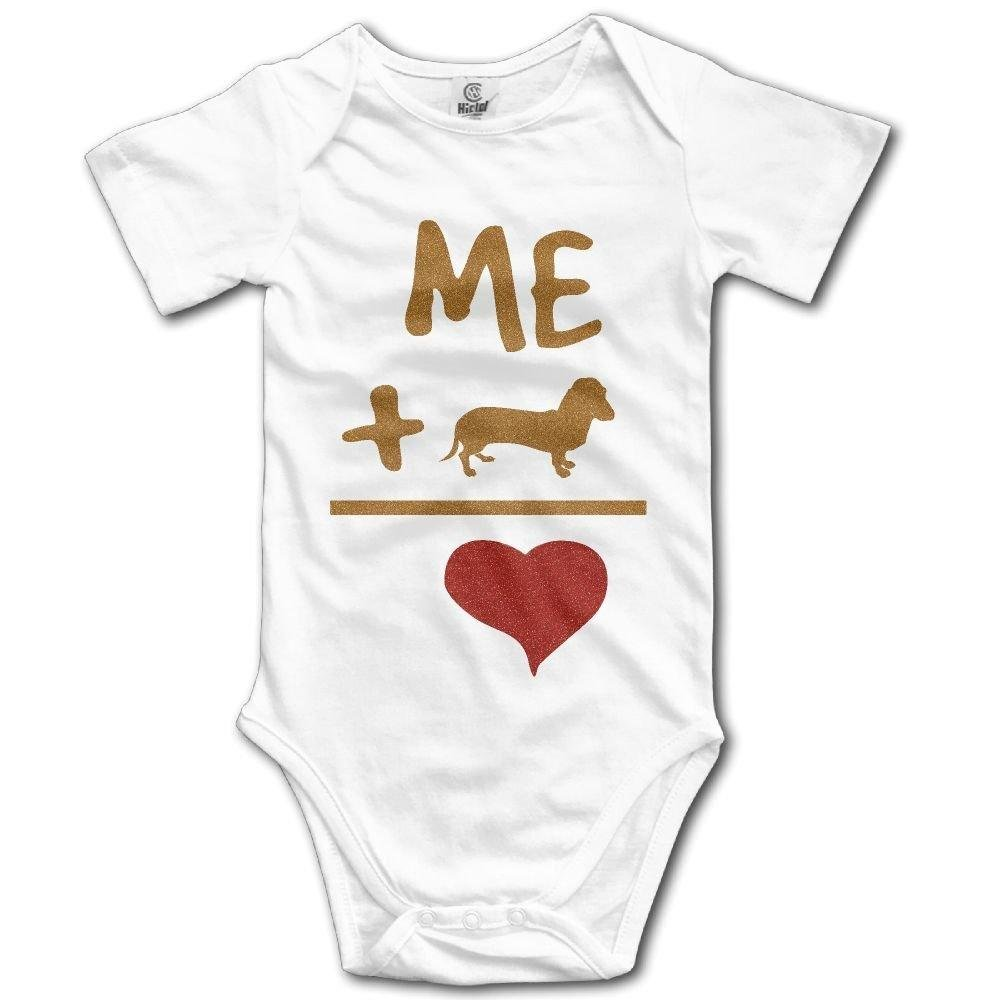 Newborn Infant Me Add Corgi Dog is Heart Short Sleeve Romper Onesie Bodysuit Jumpsuit
