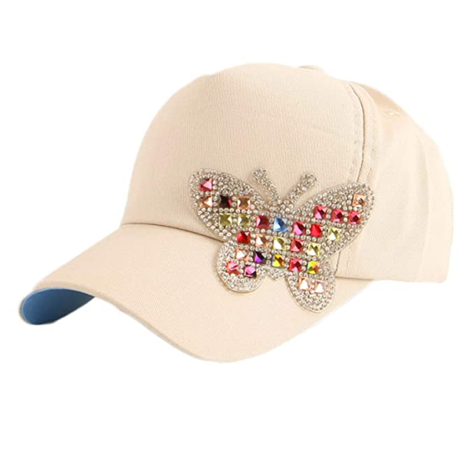 cade0e95fdfaf Boy Girl Baby Hip hop Cute Custom Butterfly Crystal Luxury Baseball Cap  Fitted Children Kids Beige