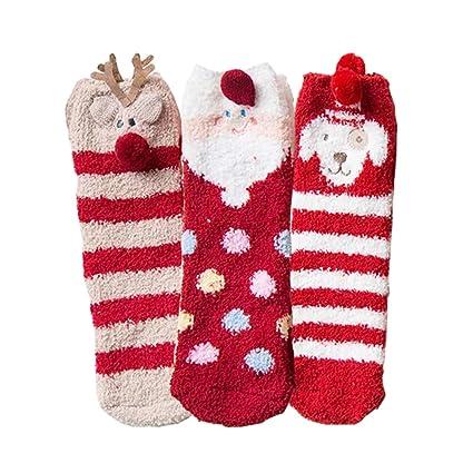 CHENQIAN 3 Pares Señoras Otoño E Invierno Medias Calcetines Calcetines De Casa Calcetín De Navidad Grueso