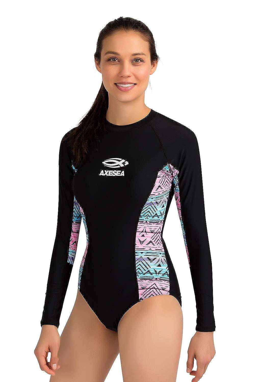 Baby Girls One Piece Swimsuits Long Sleeve Rash Guard Zipper Back Bathing Suit Sun Protection UPF 50+
