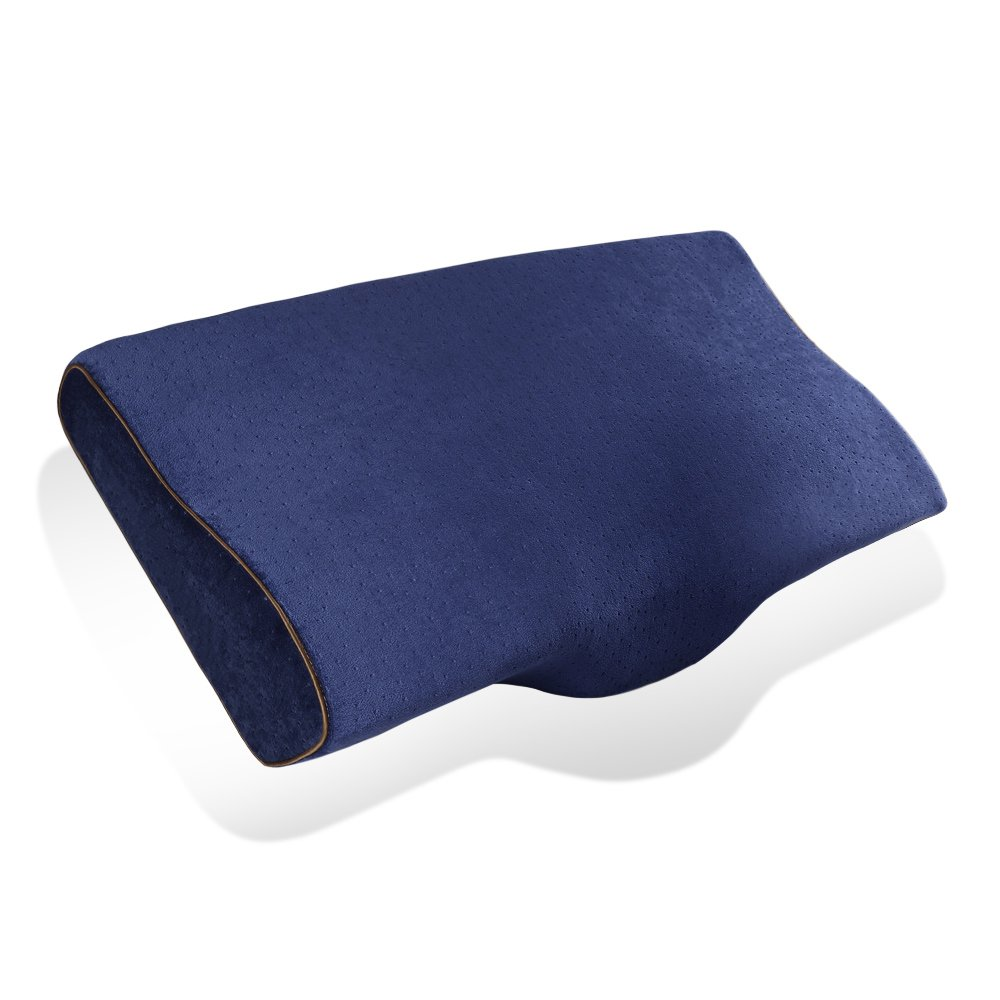 FuRong Memory Foam Pillow for Optimal Comfort Sleep and Neck Pain Relief, Contour Memory Foam Pillow with Removable and Washable Pillow Cover, Standard, 1-Pack Blue