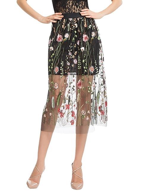 Falda Midi Mujer De Tul Vintage Retro Bordado Para Vestido Negro S