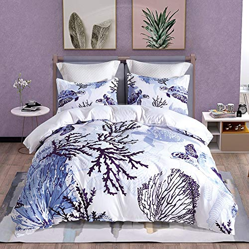 LOUHO Mediterranean Style Blue Turtle Bedding Sets Queen Size, 3 Pieces(1 Duvet Cover, 2 Pillowcases, No Comforter) (Queen, - Piece Mediterranean 3 Set