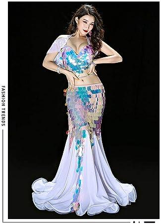 Traje Danza Vientre Vestido Largo Sexy Sirena Lentejuelas Largas ...