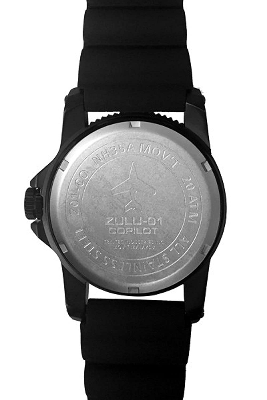Amazon.com: Trintec Aviation ZULU-01 Co-Pilot Mens Black Steel Watch with Rubber Band: Trintec: Watches