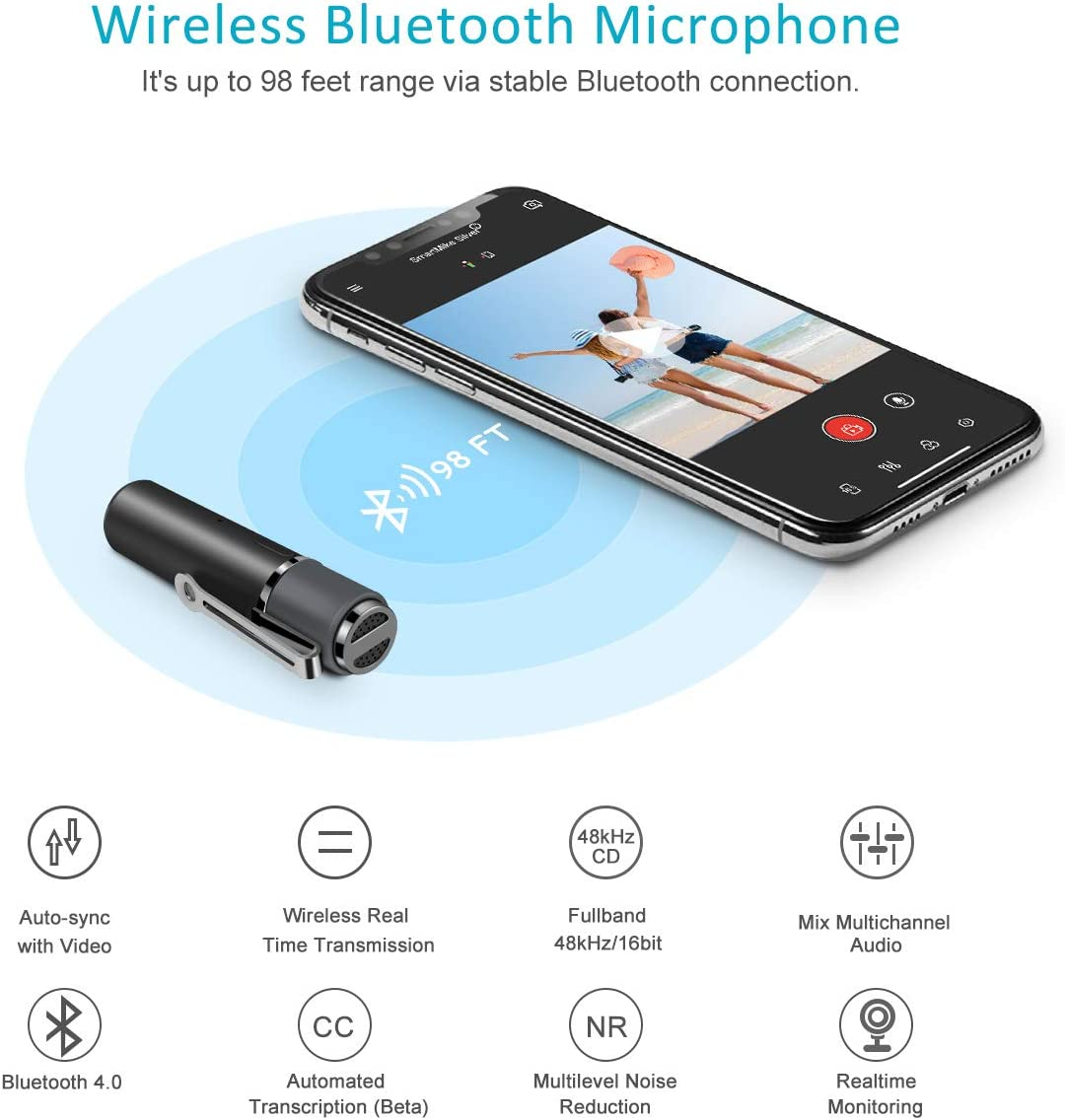 Bluetooth Lavalier Microphone,ZealSound SmartMike Wireless Lapel Smart for Bloggers and Vloggers,Easy Clip On for Recording YouTube Interview Video Teaching Conference Podcast Content Creator Lecture