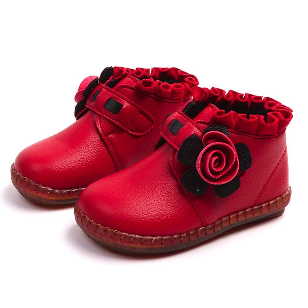 Bébé Chaussures, Manadlian Enfants Bottillons à Fleur en Fermeture éclair Plus de Velours pour Garder au Chaud Bottines Fille