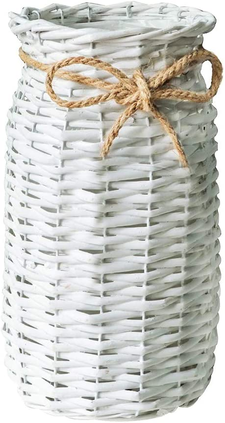 POPGRAT 12'' High Wood Cylinder Vase Flower Vase Nesting Basket Ideal Gift for Rustic Home Decor/Wedding/Special Occasion/Kitchen/Dired Floral Arrangement/Table Centerpieces Decorations (White)